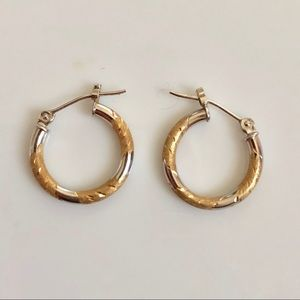 Minimal 14k white yellow petite gold hoop earrings